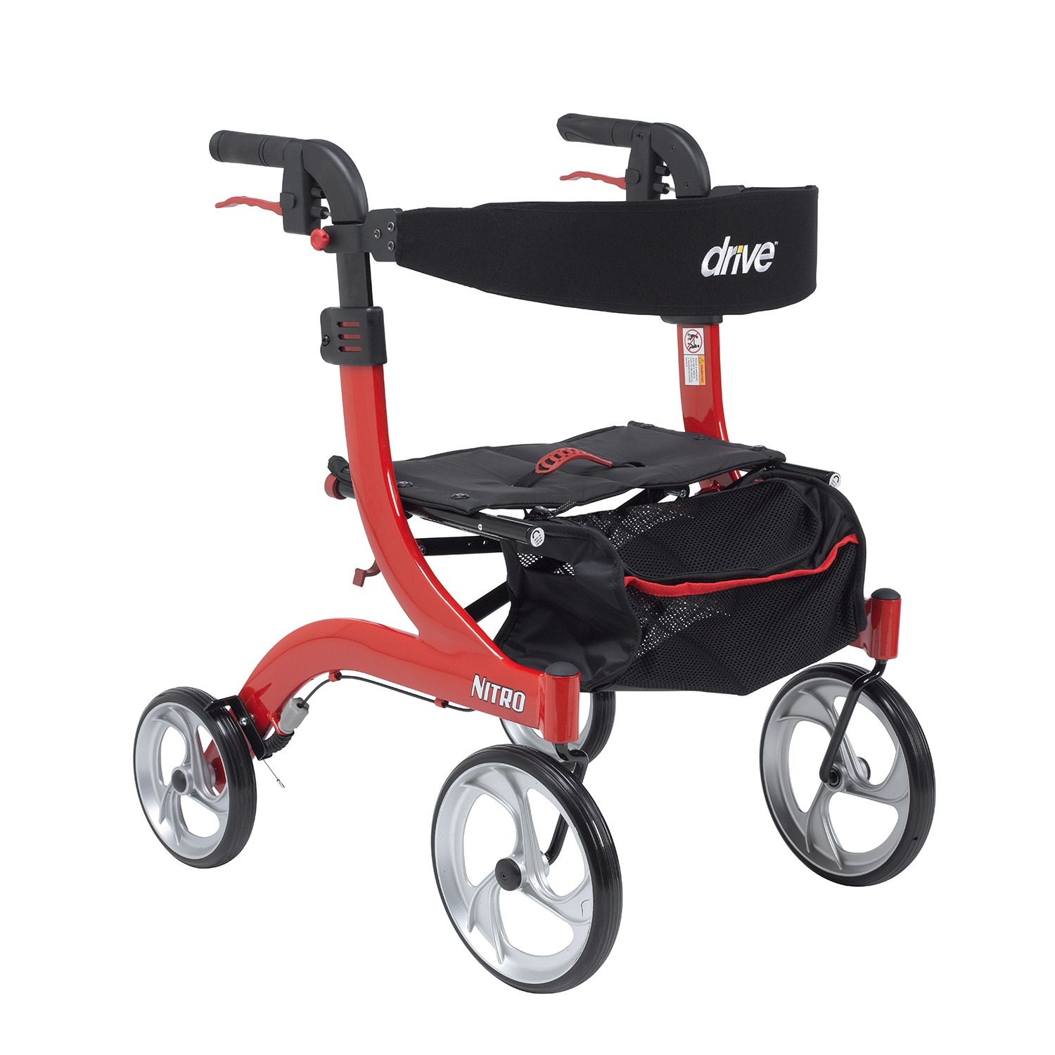 Drive Medical Nitro Aluminum Rollator, Hemi Height, 10