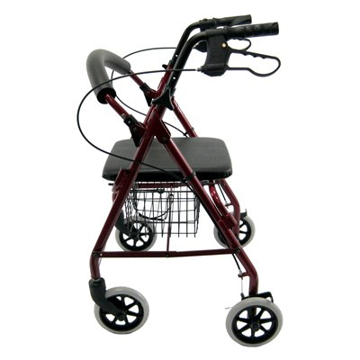 Karman R-4100 Low Seat  Rollator with Loop Brakes, Padded Seat, and Basket