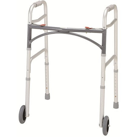 Merits Bariatric Aluminum Folding Walker, two button W144-2 Adult / W145-2 Junior