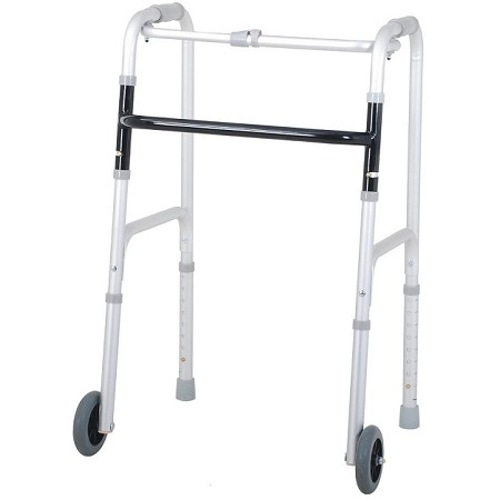 Merits Deluxe Aluminum Folding Walker, one button W114-4 Adult