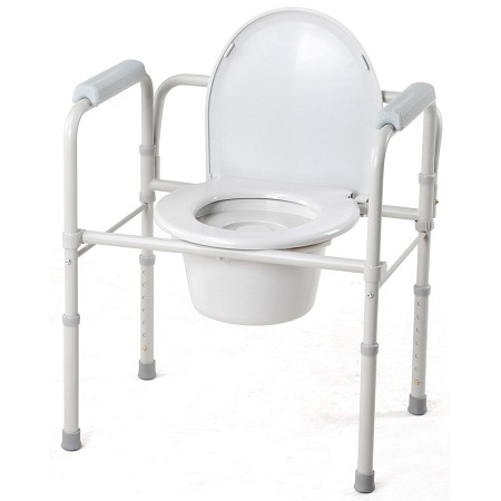 Merits Foldable Seat 3-in-1 Steel Commode