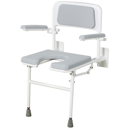 Merits Padded Gap Front Wall Mounted Shower Seat with Arms and Back