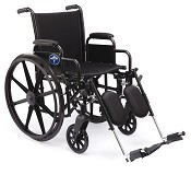 "Excel K3 Wheelchair w/ Removable Arms and Detachable Elevating Legrests (16""  Black)"