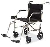 "Excel Freedom Transport Wheelchair w/ Detachable Footrests (19""  Silver)"