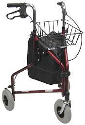 "Karman R-3600 3 Wheel Rollator with Large 8"" Casters , Aluminum, 13lbs."