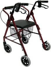 Karman R-4100 Low Seat Junior Narrow Rollator with Loop Brakes, Padded Seat, and Basket
