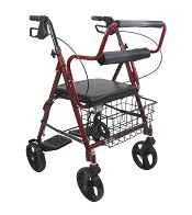 Karman R-4602-T Rollator and Transport Combo with Flip-up Footplate and Padded Seat