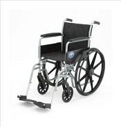 K1 Basic Wheelchair w/ Permanent Full Length Arms (18in black)