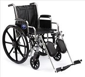"Excel 2000 Wheelchair w/ Removable Arms and Detachable Elevating Legrests (20""  Black)"