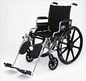 "Excel K4 Wheelchair w/ Swing Back Arms and Detachable Footrests (18""  Black)"