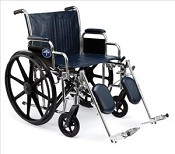 "Excel Heavy Duty Wheelchair w/Removable Desk Arms and Detachable Elevating Legrests (20""  Black)"