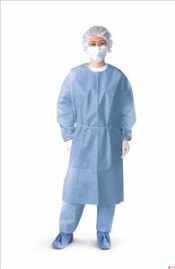 Isolation Gown, Closed Back, w/ Knit Cuff, Blue (Case of 50)