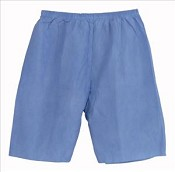 Disposable Shorts Elastic Waist Blue, Large (case of 30)